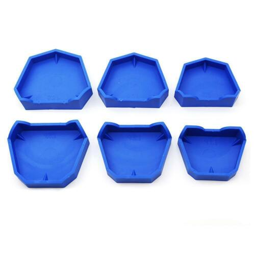 6 Pcs Rubber Dental Lab Plaster Model Former Base Molds Tool Tray Blue Silicone