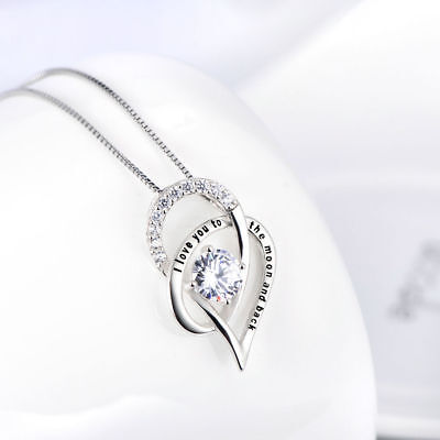 Crystal Open Heart Necklace - OPEN HEART NECKLACE PENDANT W/ 3.50 CT BAGUETTE Crystal White Gold Plated 18