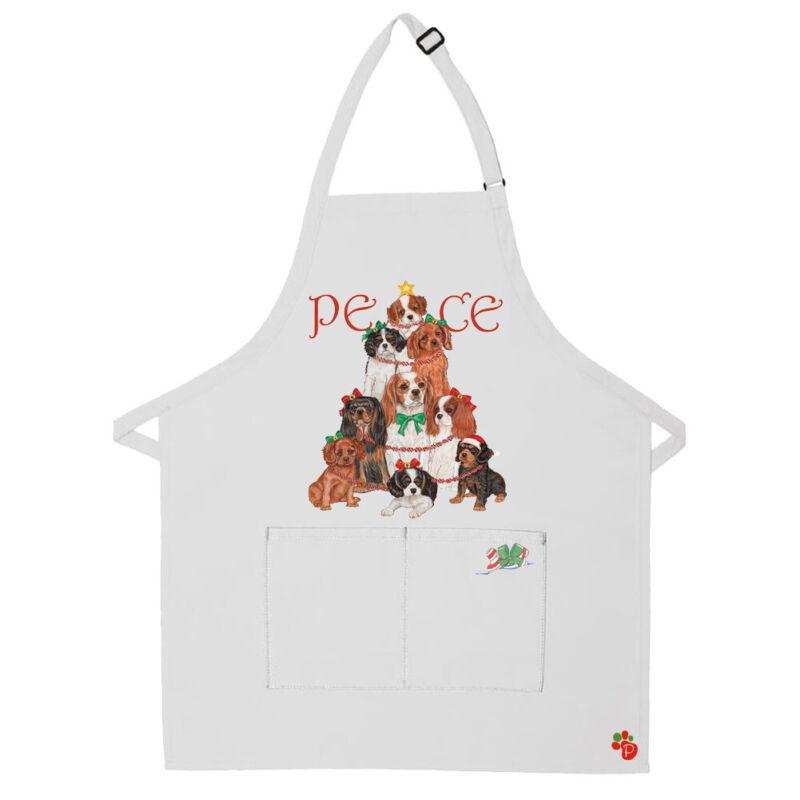 Cavalier King Charles Dog Peace Tree Christmas Apron Two Pocket Bib Apron with A