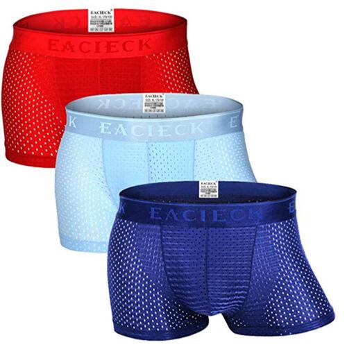 Men Ice silk Breathable Boxer Briefs Pouch Underwear Shorts