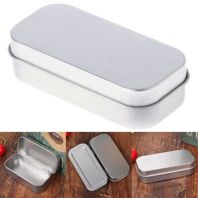 Silver Metal Rectangular Empty Hinged Tins Box Containers Small Storage Case Hinged Storage Container