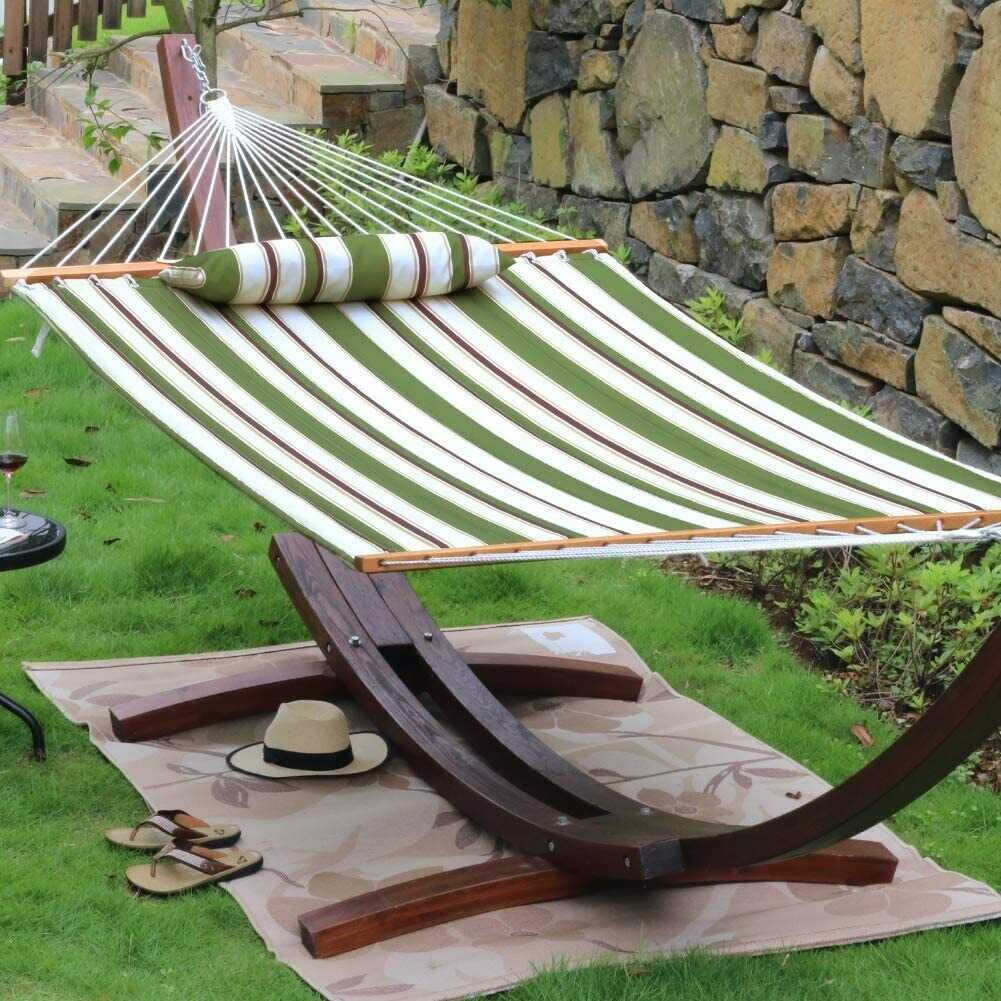 Double Size Quilted Hammock Bed with Pillow 450 LB Capacity