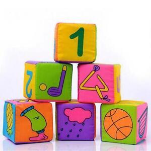 UK 6pcs Baby Kids Ring Rattle Educational Plush Toys Soft Building Blocks Cube