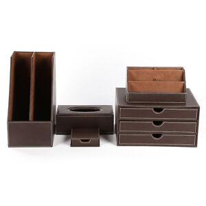 Office desk organizers 5pcs set leather wooden files - Leather desk organizer set ...