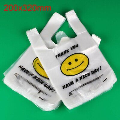 1002005001000pcs White Plastic Shopping Bags Carry Out Retail Market Grocery