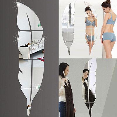 La etiqueta DIY de la pluma 3D Plume Espejo pared de vinilo pegatinas Home Decor