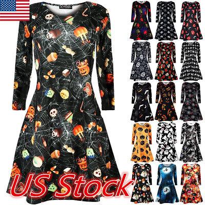 USA Ladies Womens Pumpkin Bat Print Long Sleeve Dress Mini Swing Dress Halloween - Mini Costumes