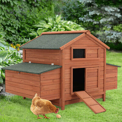 Extra Large Chicken Coop Hen Poultry Ark Rabbit Duck Hutch Nesting Box Outdoor