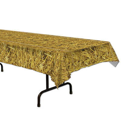 Straw Plastic Table Cover - - Straw Table