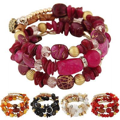 (Woman Bohemian Shell Glass Beads Multilayer Bracelet Bangle Beach Jewelry Charm)