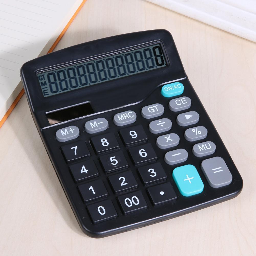 Portable 12-Digit Desktop Business Display Accounting Solar/Battery Calculator