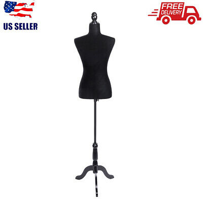 Black Female Mannequin Torso Clothing Dress Form Shop Display With Tripod Stand