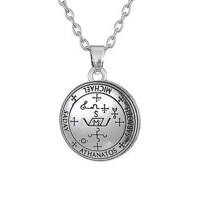 - Archangel Michael Sigil Seal Solomon Kabbalah Amulet Pendant Vintage Necklace