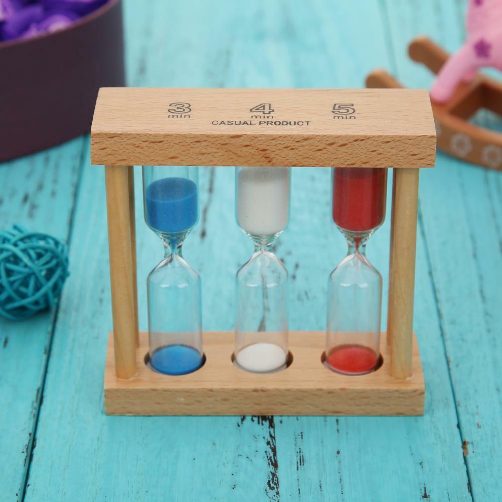 Creative 3/4/5 Minute Wood Hourglass Sandglass Sand Clock Ti