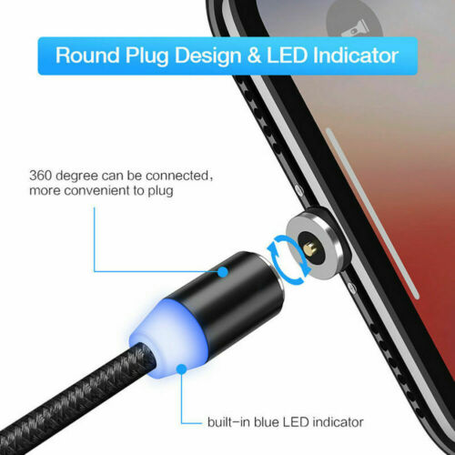 360° Magnetic LED lighting USB Fast Charger Charging Cable