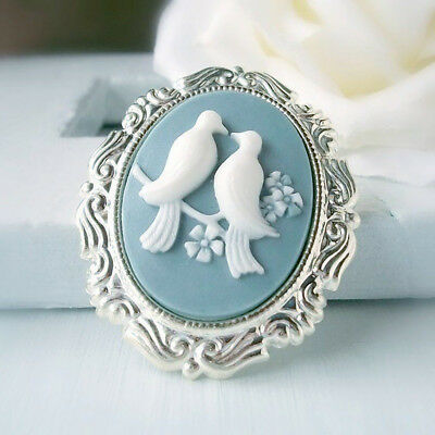 Romantic Women Magpies Cameo Silver Plated Ring Wedding Engagement Jewelry New
