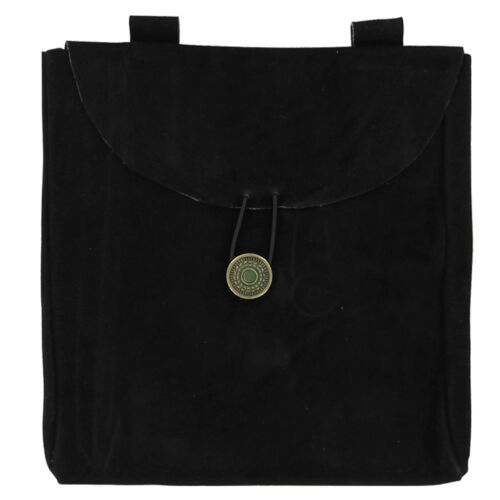 Knight Medieval Crusader Renaissance Leather Large Black Suede Pouch