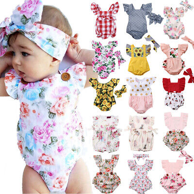 Newborn Infant Baby Girl Flower Romper Bodysuit Jumpsuit Outfit Clothes US STOCK Baby Girl Bodysuit