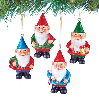 Hanging Gnome Elf Christmas Tree Ornaments, Red Green Blue, Set of - Elf Christmas Ornaments
