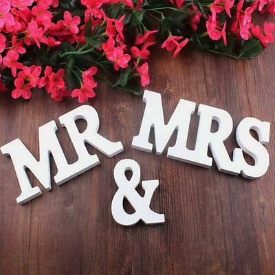 Mr and Mrs Wedding Wooden Sign Wood Letters Decor Decoration Table Top - Wedding Table Decor