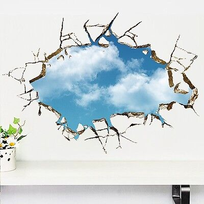 3D Bright Blue Sky Clouds Breaking Through Ceiling Wall Decals Removable Sticker