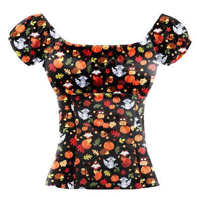 Women Tops Rockabilly  Peasant Top 50s Style Shirts Halloween Fox Pumpkin Print](Rockabilly Halloween)