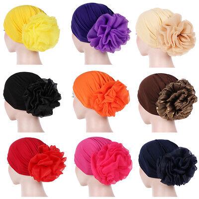 Solid Color Mesh Flower Islamic Muslim Hijab Women Headwrap Chemo Hat New Trendy