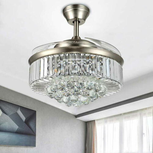 """42"""" Invisible Ceiling Fan Light Crystal Chandelier Pendant Lamp w/Remote - Silver 10"""