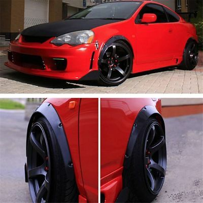 4x Black Universal Fender Flares Flexible Durable Polyurethane Auto Car Body Kit