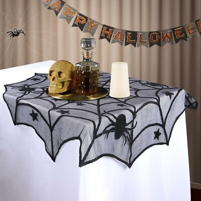 Black Lace Spider Web Table Topper Table Cloth Cover Home Party Halloween Decor - Halloween Party Table Cloth