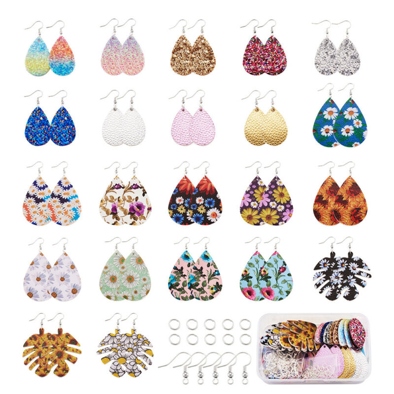DIY 22 Pairs PU Leather Charm Dangle Earring Making Kit Double Side w/ Fish Hook