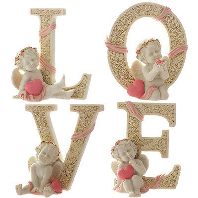 KiaoTime-4pcs Angel Cherub Figurines Statue Sculpture LOVE Sign Home Decor Gift