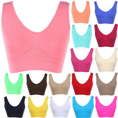 (Seamless Spandex Cropped Sleeveless Sports Tank Top Bralette Deep Back ONE SIZE)