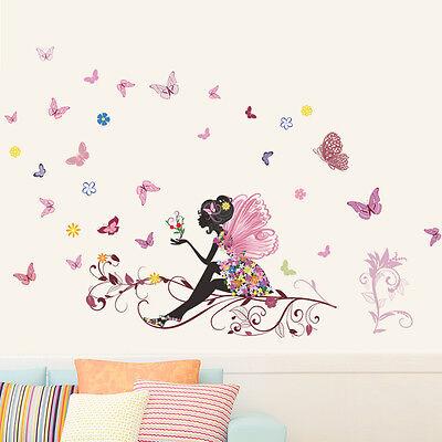 Wandtattoo Wandsticker Deko Design Wandaufkleber Blümen Frau Schmetterlings #113