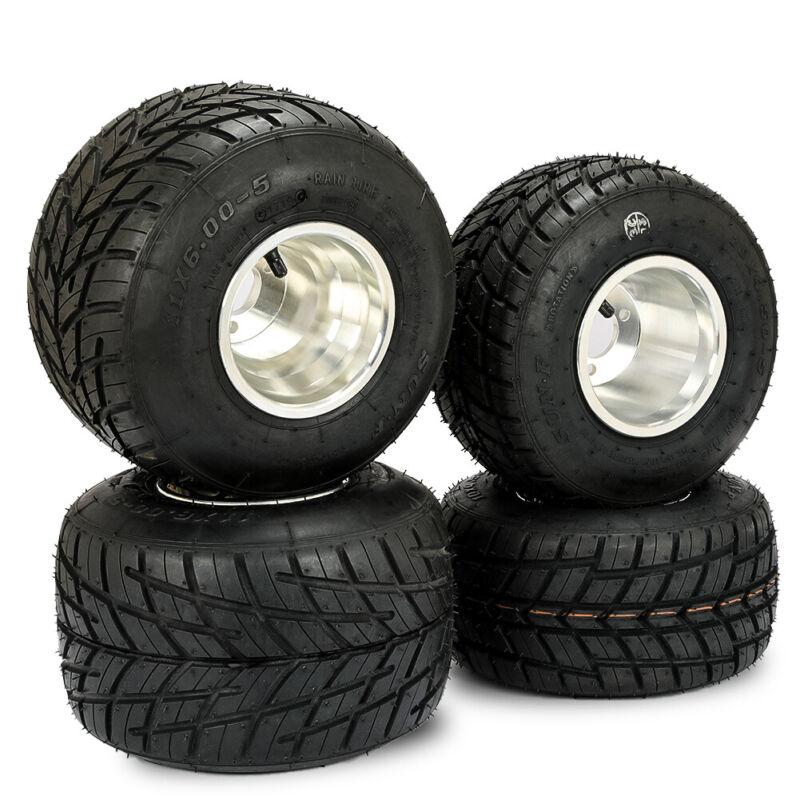 Set of 4 Go Kart Wheels Go Kart Rain Tires Rim & Tyre Durable 10X4.50-5 11x6.0-5