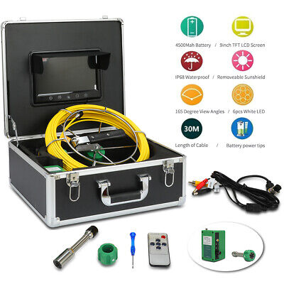 30m Sewer Waterproof Camera Pipe Pipeline Drain Inspection System 9 Lcd