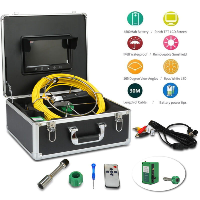 """30M Sewer Waterproof Camera Pipe Pipeline Drain Inspection System 9"""" LCD"""