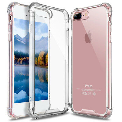 For iPhone X 8 7 Plus Clear ShockProof Bumper Transparent Sillicone Case Cover