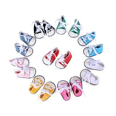 1Pair Canvas Doll Shoes Fits 18 Inch Doll  Sneakers Lace Kids Fits Toy DQUS
