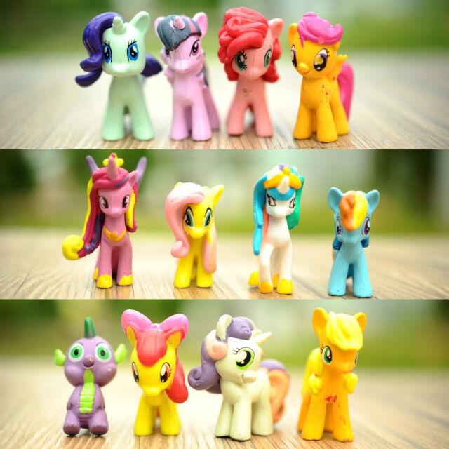 MINI Dolls 12Pcs My Little Pony Cute Horse Cake Loose Figures Kids Girl Toy
