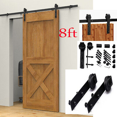 8FT Rustic Black Sliding Barn Wood Door Sliding Track hardware bigbarn wheel kit