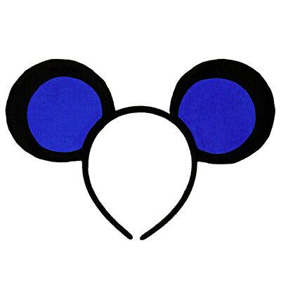 Mice Ears Costume (Blue & Black Mouse-A-Like Ears Headband - Cute 3 Blind Mice Mickey Costume)