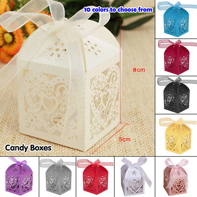 Candy Gift Boxes+ Ribbon Floral Laser Cut Paper 3D For Party Sweet Wedding Favor