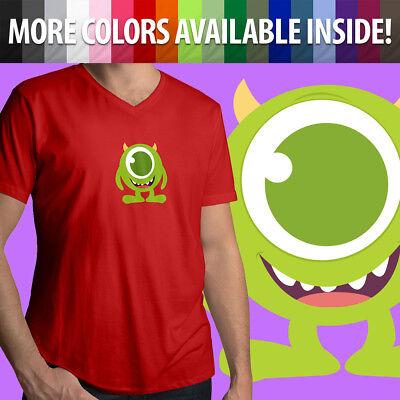 Disney Pixar Monsters Inc University Mike Wazowski Cute Mens Tee V-Neck T-Shirt