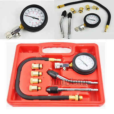 Petrol Engine Compression Tester Test Gauge Kit for Car Motorcycle Tool Box UK