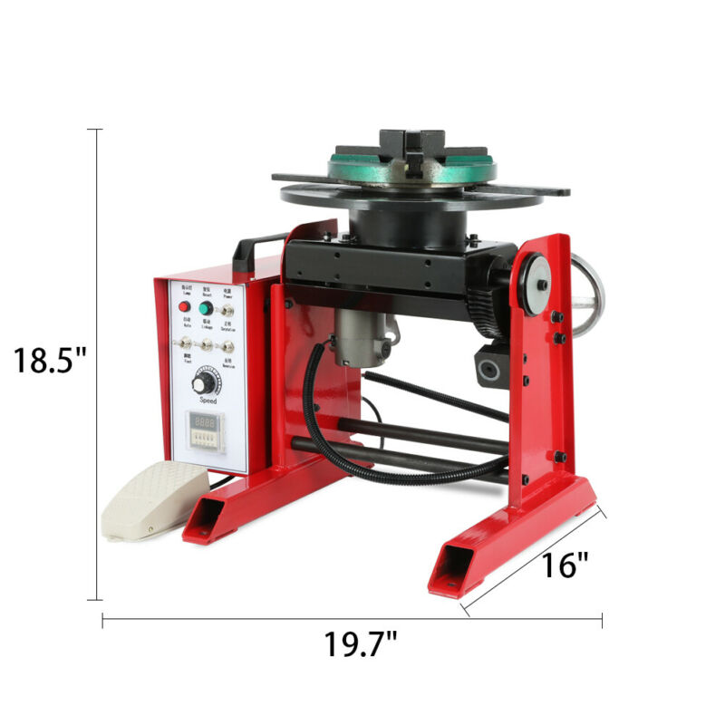 110V 30KG Rotary Welding Positioner 0-90° Three Jaws Chuck Foot Switch Welding