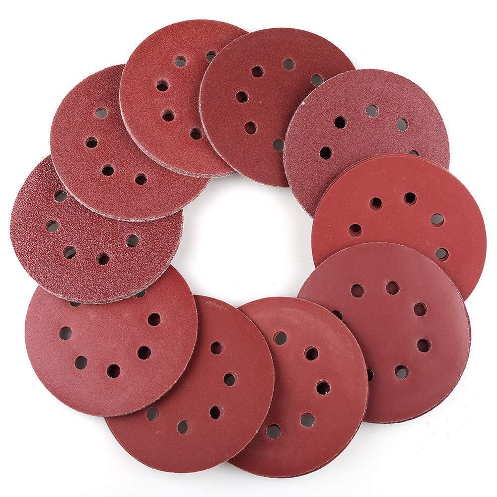 5 Inch 8-Hole Hook and Loop Sanding Discs 40-800 Grit Orbit