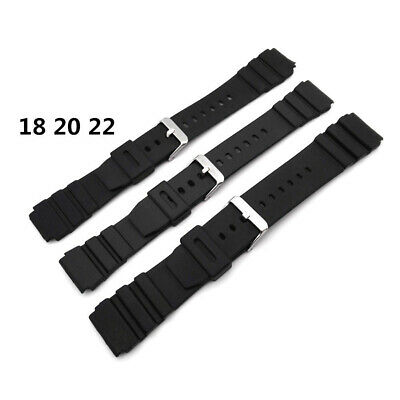 18-22mm Black Silicone Rubber Waterproof Sport Wrist Watch Band Strap Durable BF Black Rubber Wrist Watch