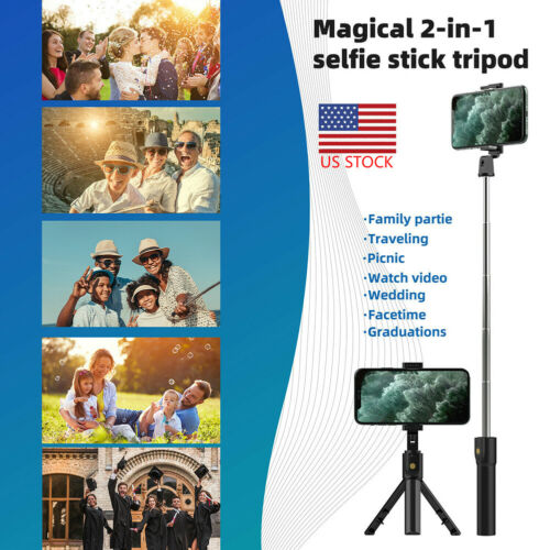 Portable Selfie Stick Tripod BT Wireless Remote Shutter For IPhone Mobile Phone - $7.99