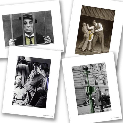 Vintage Law Enforcement Self Defense Black White Designs Four Photo Prints